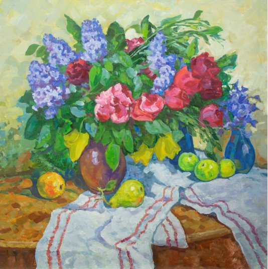"""""""Still life with lilac, pears and apples"""""""
