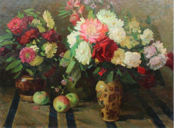 """""""Квіти в вазі та яблука"""""""