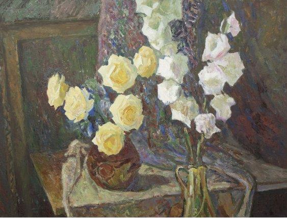 """Roses and gladioli"""