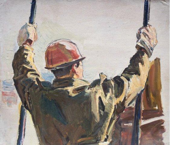 """Worker in a red helmet"""