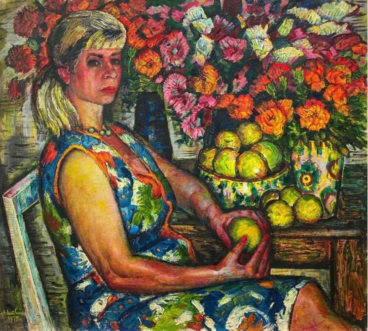 """Portrait among flowers"""
